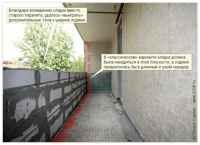 Балкон из газоблоков oblokax.ru.
